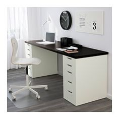IKEA - ALEX, Drawer unit, white, , Drawer stops prevent the drawers from being pulled out too far.Can be placed anywhere in the room because the back is finished.