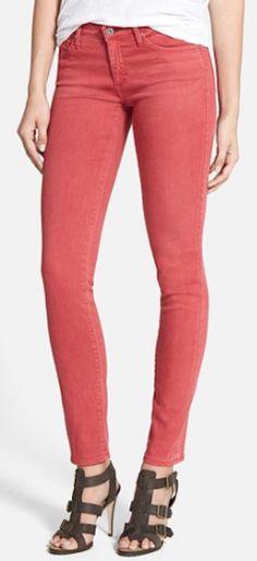#coral skinny jeans http://rstyle.me/n/nsetmr9te