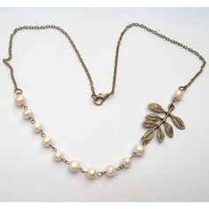 Antiqued Brass Leaf White Pearl Necklace on Luulla