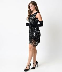 1920s Black & Silver Deco Beaded Mini Fringe Flapper Dress