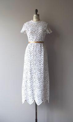 Vintage 1960s John Doyle Bishop cotton cutout lace wedding dress with warm nude…