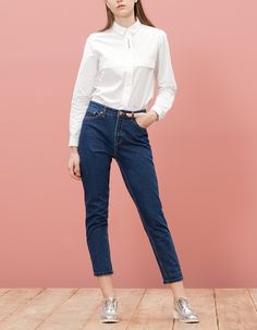 Embroidered poplin cropped shirt