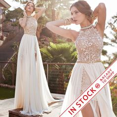 Cheap chiffon maxi dress white, Buy Quality chiffon polka dot dress directly from China chiffon skirt Suppliers:             Romantic 2015 Ivory Lace Vestido de Noiva A-line Beaded Halter Sexy Backless High Low Beach Wedding Dress Ch