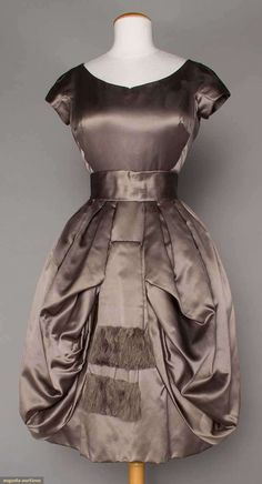 Party Dress (image 1)   House of Dior   mid 1950s   silk satin   Augusta Auctions   April 20, 2016/Lot 123