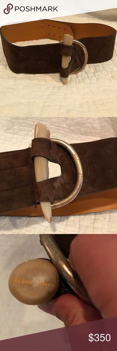 Ralph Lauren Black Label Horn Toggle Belt Ralph Lauren Collection Black Label Suede Belt. Chocolate Brown Size L - fits like a S/M. It is a curved Belt. Buckle has faux horn as decorative piece. Can be worn with anything - sweaters, sweater dress, jeans, suit. It is super versatile. Used in like new condition. Ralph Lauren Black Label Accessories Belts