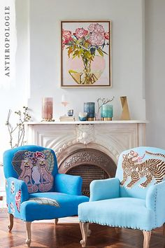 Adorned with elaborate applique, Paige Gemmel's Palace Portrait chairs make a pretty talking point; accent with a feature cushion that matches on embellishment to emphasise the eclectic feel.