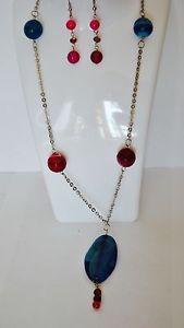 Necklace earring  Set collana e orecchini in acciaio e pietre di agata e cristalli