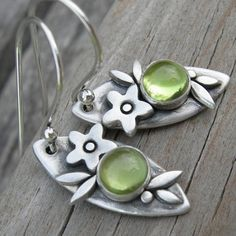 Sweet Peridot Sterling Silver Earrings August by westbyron on Etsy, $52.00