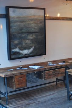 """Industrial Reclaimed wood media/tv stand (150 year plus """"old growth"""" wood) 48"""" l x 18"""" deep w x 20"""" tall. $525.00, via Etsy. doesnt include crates...additional $"""