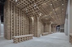 BANDe Architects inserted a set of timber structures inspired by traditional Chinese cultural pavilions into Beijing's GreenMonster Lab cultural destination Exhibition Building, Exhibition Space, Timber Structure, Fire Doors, Chinese Architecture, Interior Architecture, Interior Design, Milan Design, Cultural Center