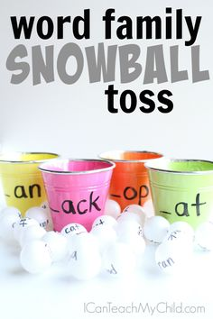 Word Family Snowball Toss - I Can Teach My Child! - Multisensory ideas- Word Family Snowball Toss – I Can Teach My Child! Word Family Activity that includes kinesthetic learning for kids who love to move! Kinesthetic Learning, Fun Learning, Learning Activities, Indoor Activities, Summer Activities, Preschool Lessons, Toddler Learning, Therapy Activities, Learning Centers