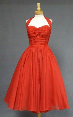 Gorgeous Emma Domb Pleated Red Chiffon 1950's Halter