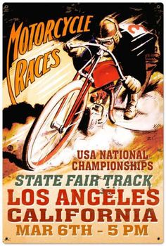 Retro LA Motorcycle Race Tin Sign LARGE