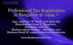 Contact us for the professional tax registration