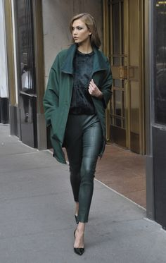 Wearing a lot of green out in New York.    - ELLE.com