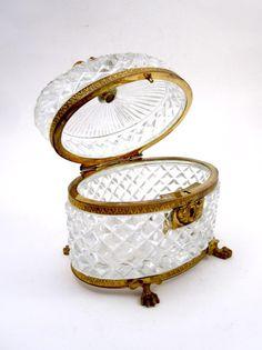 Antique Baccarat Cut Crystal Glass Casket Box - picture 5