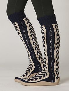 Chevron Tall Sock Boot for around the house on a cold day.
