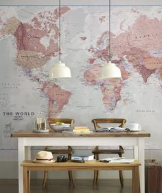Ideas Wall Decor Design with World Map Wallpaper