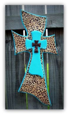 Small Wall CROSS - double layer Turquoise and Leopard