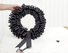 Crepe-Paper Wreath    This eerie wreath is the perfect home accent for Halloween and easy to make!