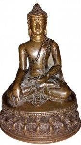 17th Century rare bronze figure of Buddha, seated in dhyanasana on a double-lotus base,  height 15 cm. weight 0.740kg  - See more at: http://www.asiakingart.com/?p=590#sthash.0b1xcwlH.dpuf