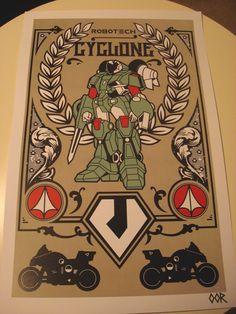Robotech Cyclone poster print. $6.99, via Etsy.
