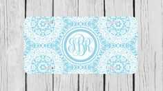 Personalized Monogrammed Floral Lace Light Blue by TopCraftCase