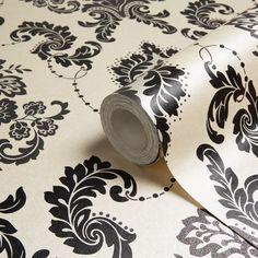 Boutique Dalmation Damask Glitter Wallpaper   Departments   DIY at B