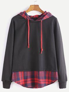 2 IN 1 Sweatshirt mit Kapuzen Kontrast Karierte Saum-schwarz