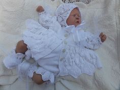 KNITTING PATTERN TO MAKE *BEATRIX* 4 PIECE MATINEE SET FOR BABY OR REBORN DOLL