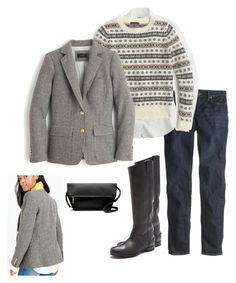 """""""puppytooth fairisle"""" by justvisiting ❤ liked on Polyvore featuring J.Crew and Madewell"""