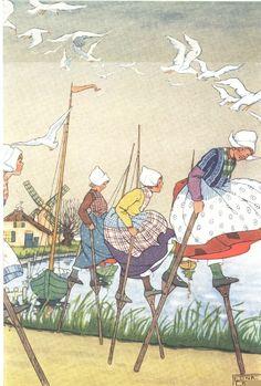 Gretel on her stilts - illustration by Edna Cooke Hans Brinker, by Mary Mapes Dodge Jolie Photo, Children's Book Illustration, Book Illustrations, Retro, Vintage Postcards, Amsterdam, Vintage Art, Illustrators, Book Art