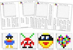 Jeux éducatifs, Jeux de société, Jeux à imprimer Pixel 5, Occupational Therapy Activities, Pix Art, Math School, Small Cross Stitch, Math Art, Cycle 3, Home Schooling, Diy For Kids