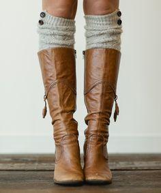 Gray Open-Knit Over-the-Knee Socks