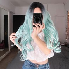 Lace Front wig forest green hair neon green lace wig blonde hair turni – 37 Unique Mint Pastel Hair Color Ideas for Women in 2019 Lace F. Cute Hair Colors, Hair Dye Colors, Ombre Hair Color, Cool Hair Color, Pastel Hair Colors, Mint Hair Color, Green Hair Colors, Hair Color For Women, Light Blue Hair