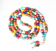 Fashion Cool Turquoise 108 Mixed Color Vein 10x12mm Skull Beads Necklace ZZ1023