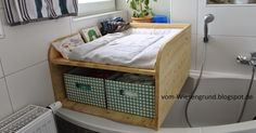 Changing attachment Bath Wood Build your own Wood Bathtub, Diy Bathtub, Bathtub Cover, Diy Changing Table, Diaper Bag, Baby Co, Diy Baby, Unique Baby, Little Houses