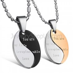 """Titanium Black and Rose Gold """"You Are My Life Irreplaceable Love"""" Lovers Pendants with Free Chains C628"""