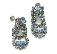 Blue Rhinestone Dangle Earrings Draped Swag Style Screw Back Vintage 1950s 1960s Rhinestone Earrings, Vintage Rhinestone, Crystal Rhinestone, Dangle Earrings, Swag Style, Vintage Jewelry, Vintage Items, Screw Back Earrings, Blue Crystals