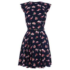 Buy Oasis Flamingo Skater Dress, Blue/Multi Online at johnlewis.com