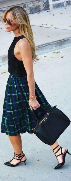 Pleated A-line Skirt + Racerback Crop