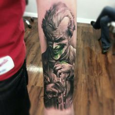 Second Joker for today. This time done by Kyle Cotterman . The fact that he putted green in the tattoo - sick! #tattoo #tattoos #ink