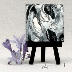 Fluid acrylic black white painting mini by TheSmallestThought Black And White Painting, White Art, Black White, Small Canvas Art, Marble Art, Fluid Acrylics, Painting Gallery, Handmade Art, Canvas Prints