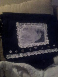 A bag with buttons and lace..