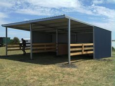 Whether you call them Horse loose box, walk-in horse stalls, field shelters or paddock shelters, The Horse Shed Shop's range of house shelters is undoubtedly the best on the Australian market. Horse Shed, Horse Barn Plans, Horse Stalls, Simple Horse Barns, Horse Paddock, Cattle Barn, Loafing Shed, Horse Shelter, Goat Barn