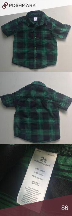 Carter's short sleeve plaid button down Short sleeve Carter's button down shirt in green and black plaid. In great used condition!  I have lots of other boys clothes and I'm happy to give great deals on bundles. Check out my other listings! Carter's Shirts & Tops Button Down Shirts
