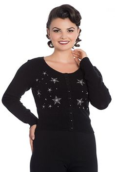 Hell Bunny Snowstar Retro 50s Vintage Christmas Knit Cardigan - Black (XL - UK 16): Amazon.co.uk: Clothing
