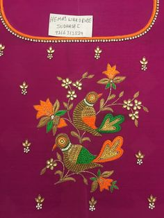 See related links to what you are looking for. Kids Blouse Designs, Hand Work Blouse Design, Simple Blouse Designs, Dress Neck Designs, Bridal Blouse Designs, Peacock Embroidery Designs, Kurti Embroidery Design, Embroidery Flowers Pattern, Folk Embroidery