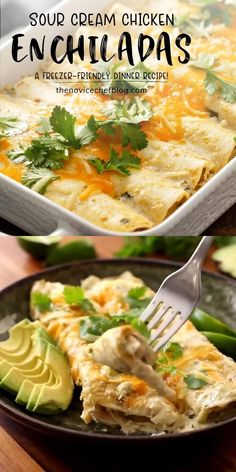 A homemade dinner recipe from a favorite Mexican dish! Sour Cream Chicken Enchiladas are easy to make. Shredded Chicken Enchiladas, Sour Cream Enchiladas, Shredded Chicken Recipes, Enchiladas Healthy, Mexican Shredded Chicken, Rice Recipes For Dinner, Mexican Dinner Recipes, Soft Foods For Dinner, Soft Food Meals