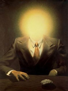 """The Pleasure Principle (Portrait of Edward James)"" in 1937 by René Magritte (Lessines 1898 - Bruselas 1967). Oil on canvas in surrealist style. While working on the portrait of Edward James after a photograph by Man Ray.  Magritte substituted the explosion of light produced by a camera flash device for the face of his model,  thereby - as so often - mocking and demonstrating the principle of unreality lying behind a picture."